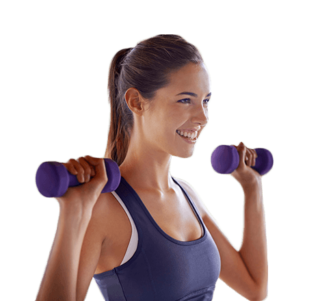 Young woman is working out with weights